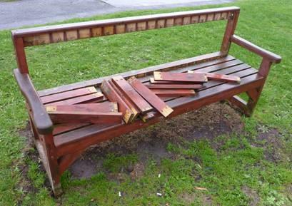 Vanalised Bench at Memorial Garden
